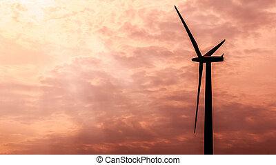 Windfarm - Silhouette of Wind Turbines in the morning Light