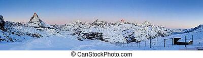 matterhorn at sunrise, panorama from rottenboden,...