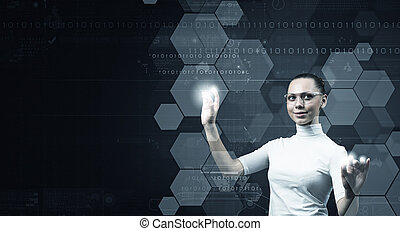 Girl and technologies of the future