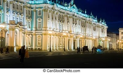 The Winter Palace from Palace Square in nightSt Petersburg...