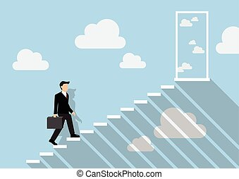 Businessman stepping up a staircase to the real sky Business...