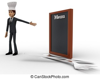 3d chef presenting menu concept on white isolated background...