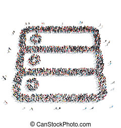 group people shape abstract symbol - A group of people in...