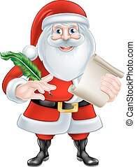 Santa Holding Scroll and Quill - Cartoon Santa Claus with...