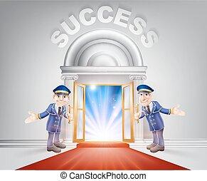 Red carpet door to Success - Success Door concept of a...