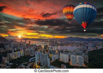 Hot air Balloon over Hong kong sky