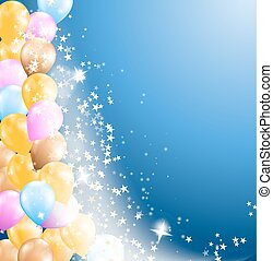 blue background with flowing stars and balloons