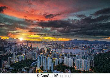Landscape of Hot air Balloon over Hong kong sky