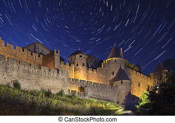 Star Trails - Carcassonne - France - Star trails above the...