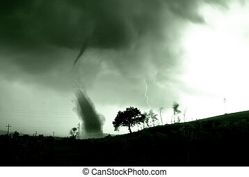 twister - scary twister in countryside in the evening