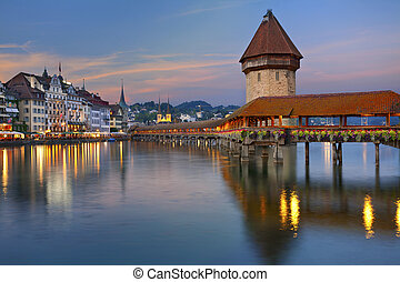 Lucerne - Image of Lucerne, Switzerland during twilight blue...