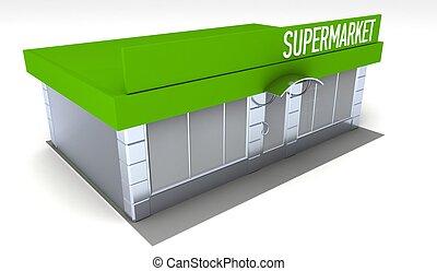 Illustration of shop or minimarket kiosk exterior -...