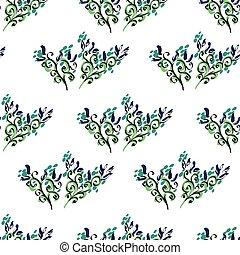 Art flower blue seamless on white  background