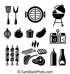 Barbecue icon set. Food and tomato, onion and salt, spices...