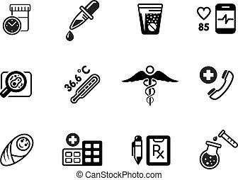 Medical icons, vector on white