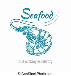 Vector sketch shrimp seafood logo. Sketch animal, restaurant...