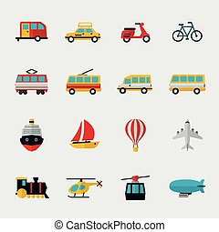 Transport flat icons set Automobile and dirigible,...