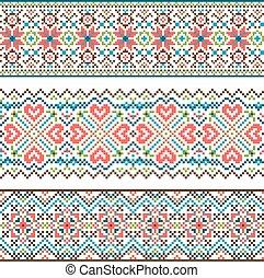 Embroidered handmade stitch Ukraine ethnic pattern. Ornament...