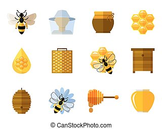 Vector honey and bee icons in flat set. Food sweet, insect...