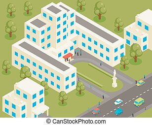 Isometric 3d flat university or college building