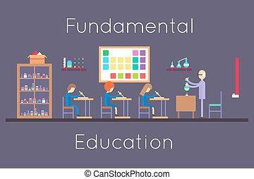 plano, química, habitación, diseño, educación, clase