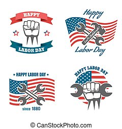United States Labor Day national holiday vector logos,...