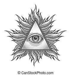 All seeing eye pyramid symbol in the engraving tattoo style....