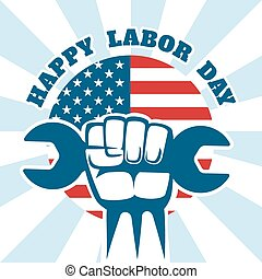Happy Labor Day and workers right vector poster. Celebration...