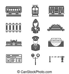 Set of railway black icons Transportation and rail road,...