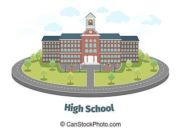 High school or university building. Educational concept background. Vector illustration