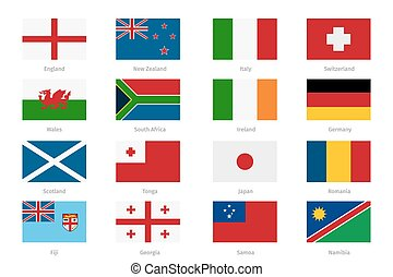 Flags in flat style. England and Wales, Scotland Ireland