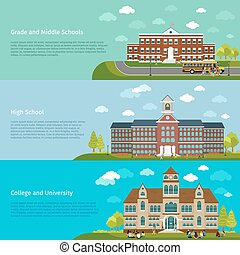 School education, high school and university study banners
