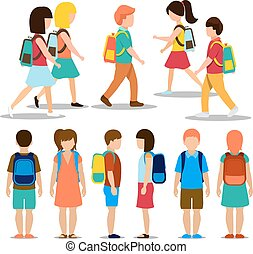 Kids going to school. Student and pupil, education people...