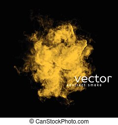 Vector illustration of yellow smoke on black. Use it as an...