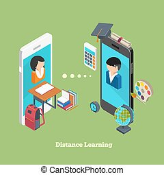 Distance online learning concept. Students avatars on...