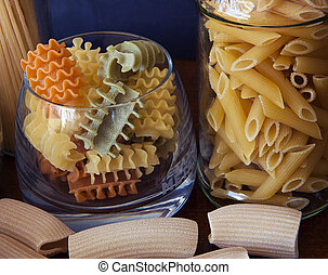 Italian pasta in many shape and colors