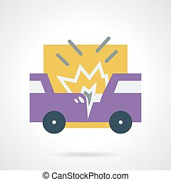 Car accident flat vector icon - Abstract flat color style...