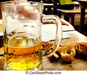 Beer and pretzel, typical Bavarian pause - More than of...