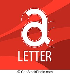 vector logo red letter A in the form of a drawing