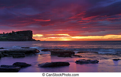 Sunrise skies over Avalon on Sydneys Northern Beaches - The...