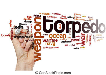 Torpedo word cloud concept with war sea related tags