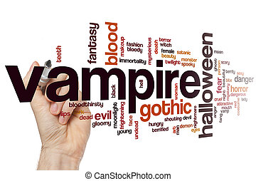 Vampire word cloud concept with gothic blood related tags