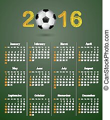 Soccer calendar for 2016 on green linen texture