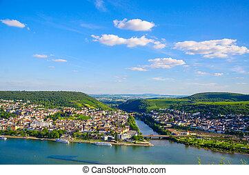 Bingen am Rhein and Rhine river, Rheinland-Pfalz, Germany -...