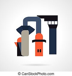 Chemical industry flat vector icon - Flat color style vector...