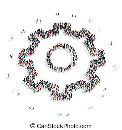 group people form gear - A group of people in the form of...
