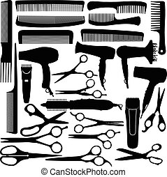 Barber hairdressing salon equipment - hairdryer, scissors and comb