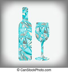 a bottle of wine with a glass abstract figure