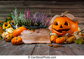 Happy Halloween - Halloween still life with pumpkins and...