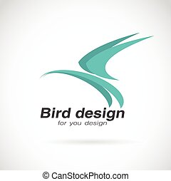 Vector image of bird design on white background